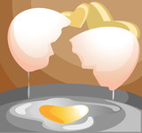 Heart shaped egg on steel pan with love symbol background