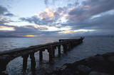 Delapidated old Lahaina wharf at sunset