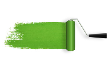 Green roller with paint trail