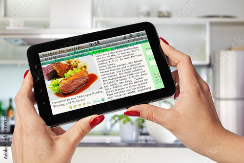 cooking recipe on the tablet-pc
