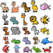 Большой набор мультфильм животных и рыб
