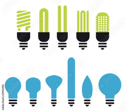 set of green and no saving bulbs silhouettes