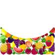 Абстрактный фон с разнообразными фруктами, вектор