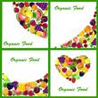 Набор из 4 фона с различными фруктами, вектор