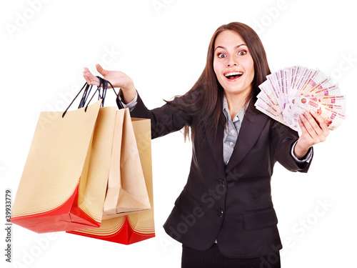 Woman with  money Russian rouble and shopping bag.
