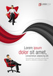 Red and black template with business people