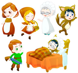 little red riding hood characters set. clipping path included