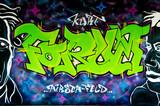 Fototapete Farbe - Grün - Graffiti