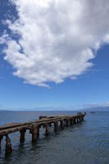 dipadated concrete pier at lahaina, maui