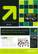 Green, yellow and black template with business people