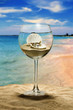 wine glass on the beach, inside the seashell with a pearl.