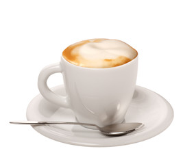 Cappuccino su sfondo bianco