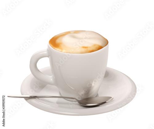 Fototapeta Cappuccino su sfondo bianco