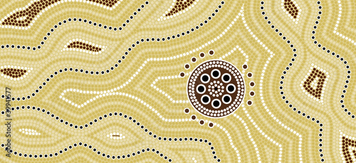 canvas print picture Illu.based on aboriginal style of dot painting Desert