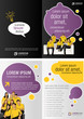 Yellow and purple template for advertising with business people