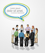 Meeting of business people with speech balloon