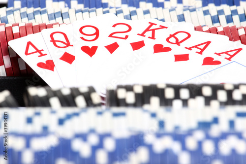 close up playing cards and chips