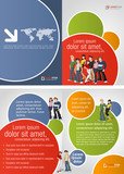 Colorful template for advertising brochure with teen students