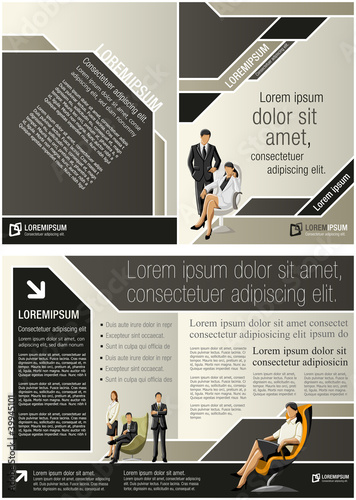 Brown template for advertising brochure with business people