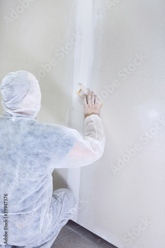 contractor plasterer working
