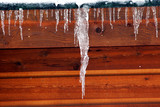 Large Icicle forms on a roof