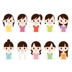 中高生の女の子 10人