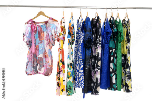 colorful clothing on hanging