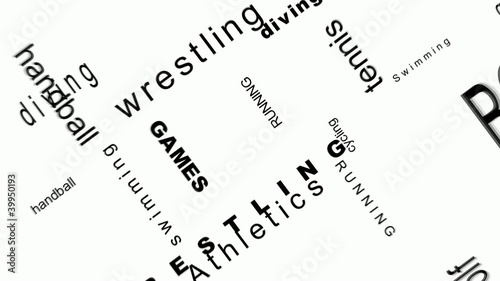 Sport headlines words on white background animation