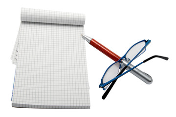 pen pad and glasses