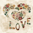 "vector spring  flowers organized in heart shape and word ""love"""