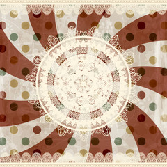 vector retro  background with lacy napkins and floral ornament b