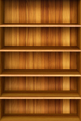 3d Wooden book Shelf background for ebook and tablet pc.