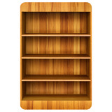 3d Wooden book Shelf background.