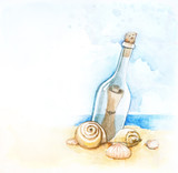 Fototapety Watercolor illustration of message in a bottle