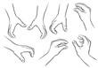 Greifende Hände, verschiedene