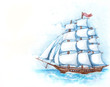 Watercolor illustration of ship