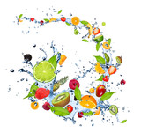 Fresh fruits falling in water splash on white background