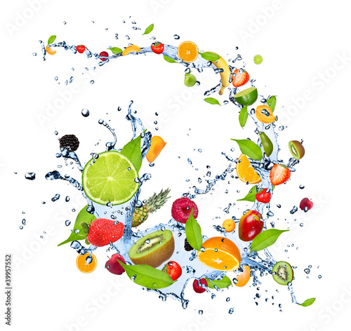 Fresh fruits falling in water splash on white background - 39957552