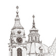 Vector sketch of Saint Nicholas Cathedral in Prague