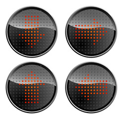 LED buttons with red arrows