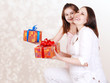 Mother and daughter with presents