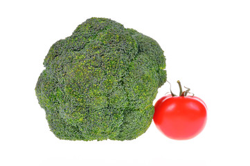 broccoli with tomato isolated on white