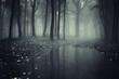 Leinwanddruck Bild - pond in a forest with fog