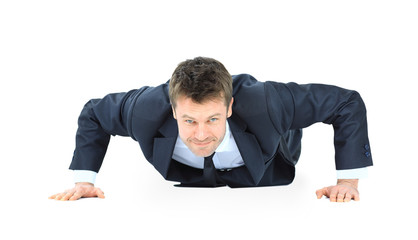 handsome service business man doing push ups