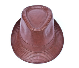 Leather bush hat isolated on white