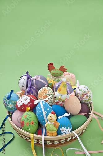 Easter eggs with hare and chickens