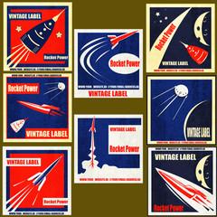 Retro Space Rockets Vintage Labels