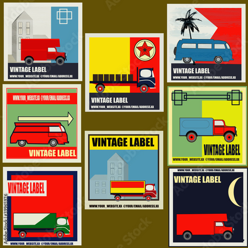 Set of retro Van and Lorry vintage labels