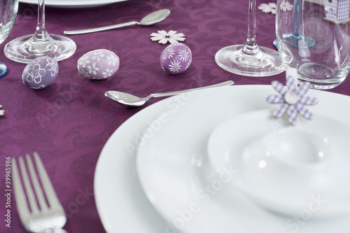 table ready laid for easter celebration