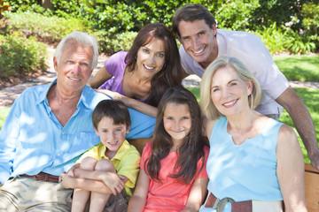 Happy Parents Grandparents Children Family Outside